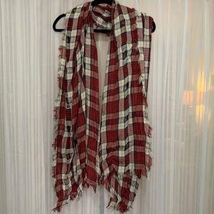 Large thin plaid scarf